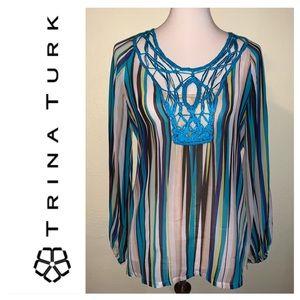 NWOT Trina Turk Silk Striped Tunic.  Size Small